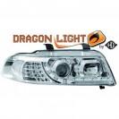 Faróis frontais (1016685) AUDI A4 99-00, crómio, transparente, DRAGON LIGHT