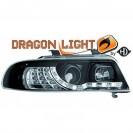 Faróis frontais (1016785) AUDI A4 99-00, preto, transparente, DRAGON LIGHT
