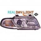 Faróis frontais (1016686) AUDI A4 99-01, crómio, transparente, REAL DAY LIGHT