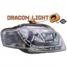 Farois frontais (1017885) Audi A4 04-08 transparente, crómio, DRAGON LIGHT