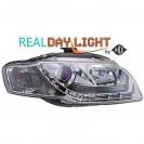 Farois frontais (1017887) Audi A4 Lim/Avant(8E) 04-07 crómio, transparente, REAL DAY LIGHT