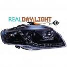 Farois frontais (1017987) Audi A4 Lim/Avant(8E) 04-07 preto, transparente, REAL DAY LIGHT