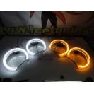 Aros / Argolas Angel Eyes 3D CRYSTAL Duas cores BMW E36 / E38 / E39 / E46 (Com Projetor) 131mm