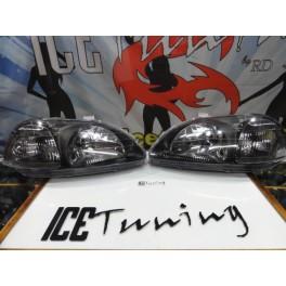 Faróis frontais MANUAIS Honda Civic 96-98 fundo Preto JDM LOOK