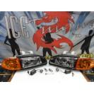 Faróis frontais Honda Civic 92-95 JDM + piscas frontais laranja EuroLook estilo americano (função minimo + pisca led) 2/3 portas