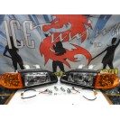Faróis frontais Honda Civic 92-95 JDM + piscas frontais laranja EuroLook estilo americano (função minimo + pisca led) 4portas