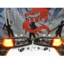 Faróis frontais Honda Civic 92-95 JDM + piscas frontais laranja JDM Look estilo americano (função minimo + pisca led) 2/3 portas