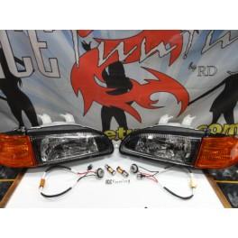 Faróis frontais Honda Civic 92-95 JDM + piscas frontais laranja JDM Look estilo americano (função minimo + pisca led) 4 portas