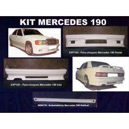 Kit para-choques frontal + traseiro + embaladeiras + Aileron Mercedes 190 1982-1993 em fibra