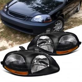Faróis frontais elétricos Honda Civic EK, EJ, 2, 3, 4 portas 96-98 fundo Preto com barra laranja JDM