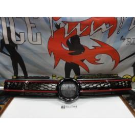 Grelha frontal com símbolo VW golf 6 08-12 GTI LOOK preto piano brilhante c/risca vermelha em plástico