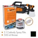 Kit de pintura preto mate, máquina + 5 L Carbody Spray Film + 500 ml thinner