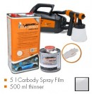 Kit de pintura transparente glossy, máquina + 5 L Carbody Spray Film + 500 ml thinner