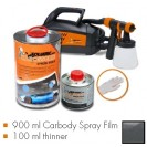 Kit de pintura gunmetal cinzento metalic mate, máquina + 900 ml Carbody Spray Film + 100 ml thinner