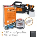 Kit de pintura gunmetal cinzento metalic mate, máquina + 5 L Carbody Spray Film + 500 ml thinner