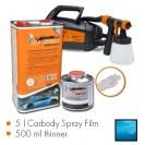 Kit de pintura frozen azul metalic mate, máquina + 5 L Carbody Spray Film + 500 ml thinner