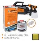 Kit de pintura mostarda verde metalic mate, máquina + 5 L Carbody Spray Film + 500 ml thinner