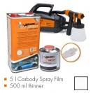 Kit de pintura branco mate, máquina + 5 L Carbody Spray Film + 500 ml thinner