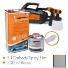 Kit de pintura urban silver metallic matt, máquina + 5 L Carbody Spray Film + 500 ml thinner