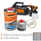 Kit de pintura urban silver metallic matt, máquina + 900 ml Carbody Spray Film + 100 ml thinner