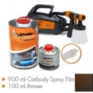 Kit de pintura frozen brown metallic matt, máquina + 900 ml Carbody Spray Film + 100 ml thinner